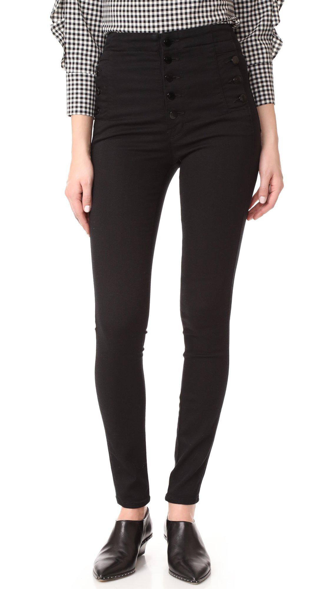 J Brand Jeans Women's Natasha Sky High Rise Skinny, Seriously Black, 27