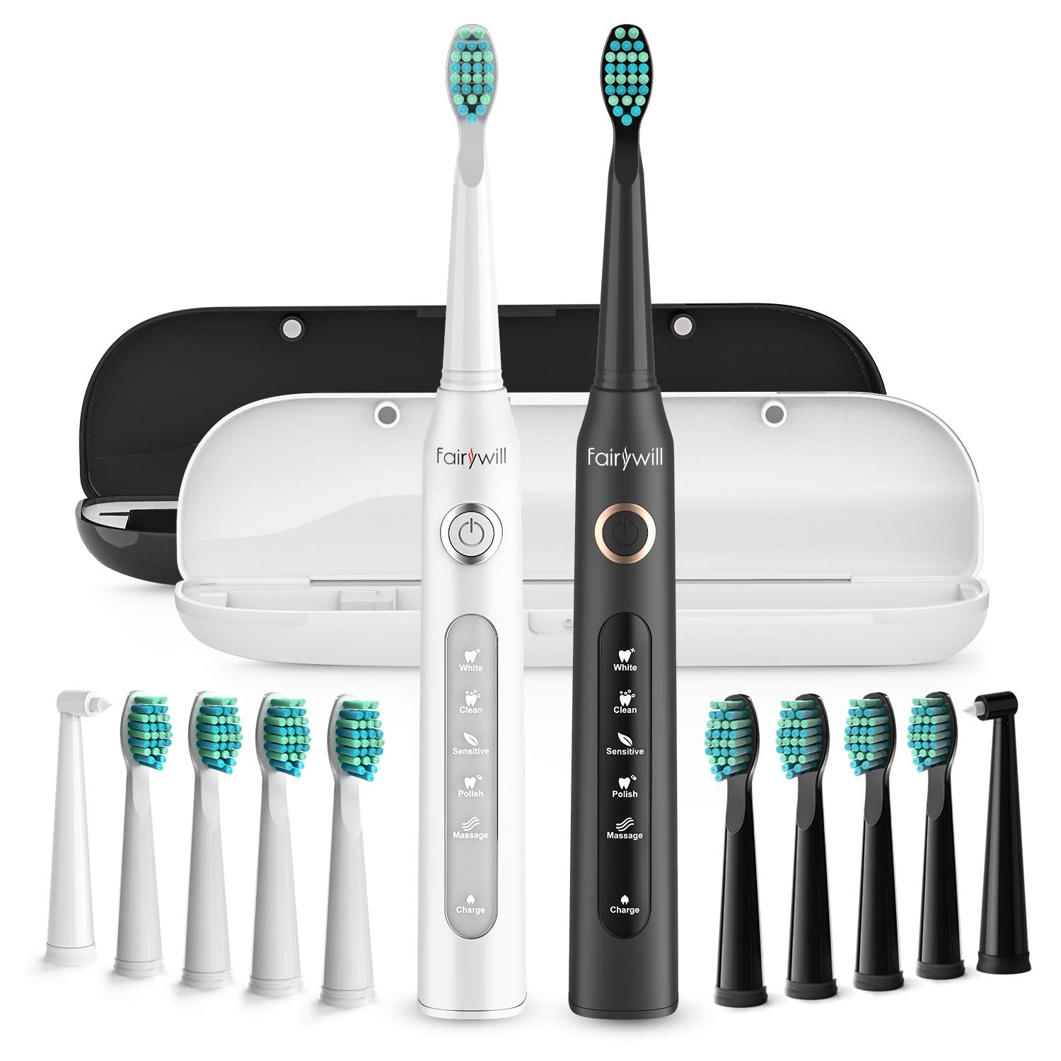 Fairywill Dual Sonic Powered Electric Toothbrush - Get A Dentist Like Clean With 5 Modes, Smart Timer, 10 Brush Heads & 2 Travel Cases, Rechargeable with One 4 hr Charge Lasting 30 Days