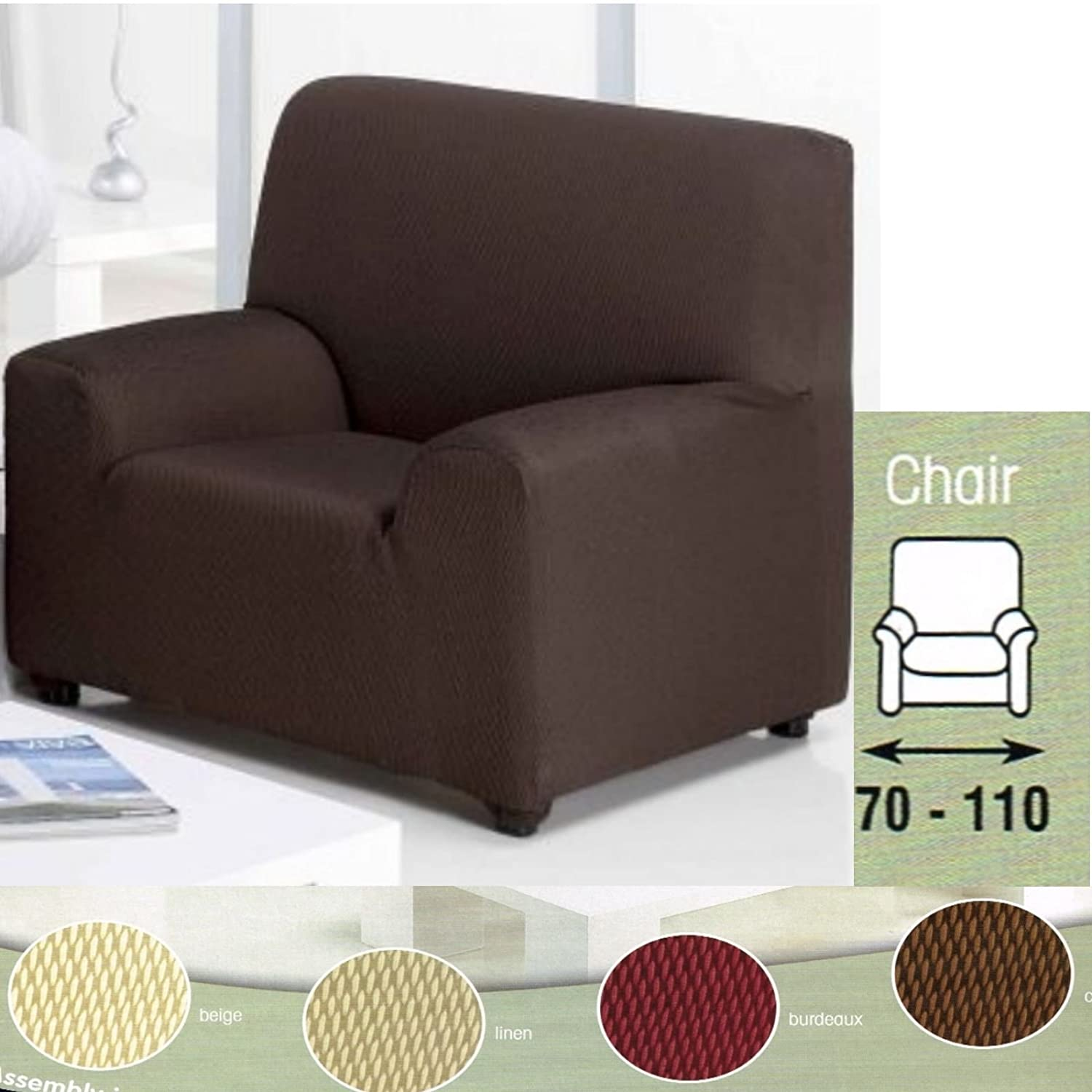 Easy Fit Stretch Elastic Arm Chair e Seater Beige Cream Fabric