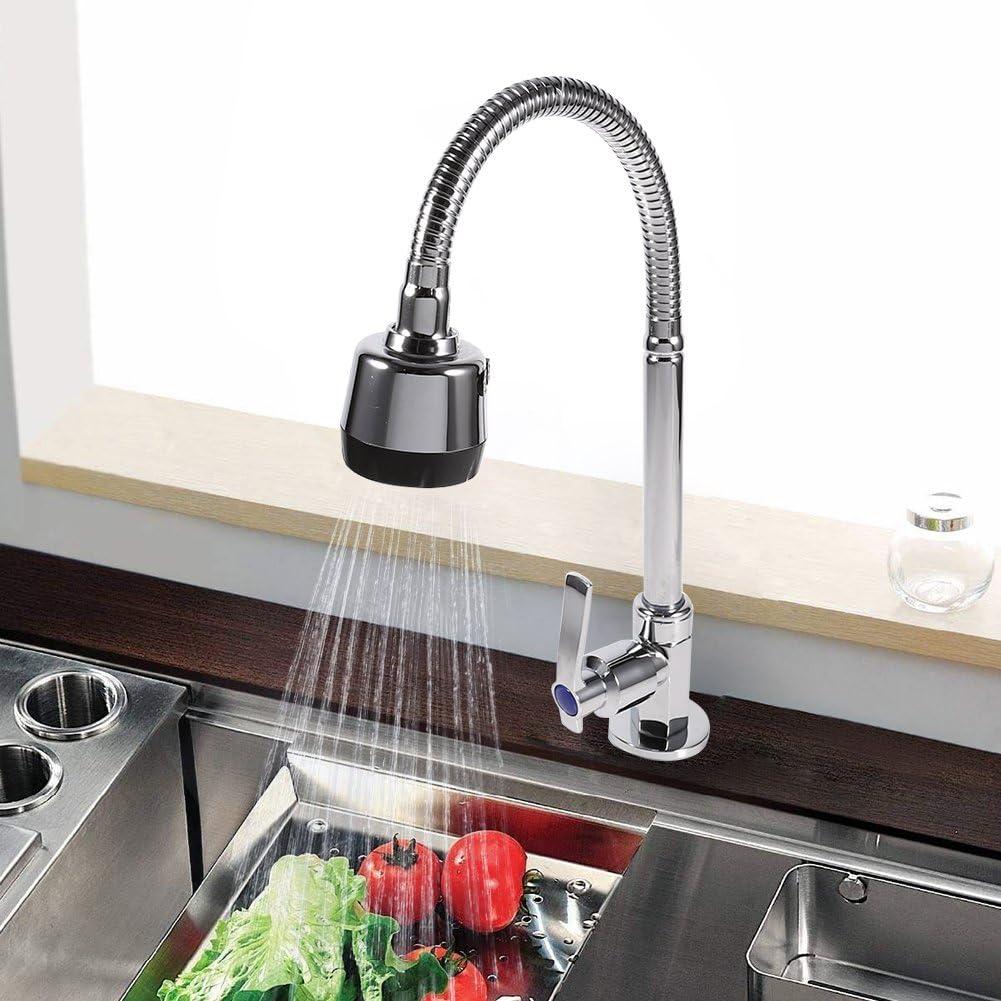 Rubinetto da cucina girevole in lega di zinco rubinetto per acqua fredda con beccuccio singolo a 360 gradi Fdit