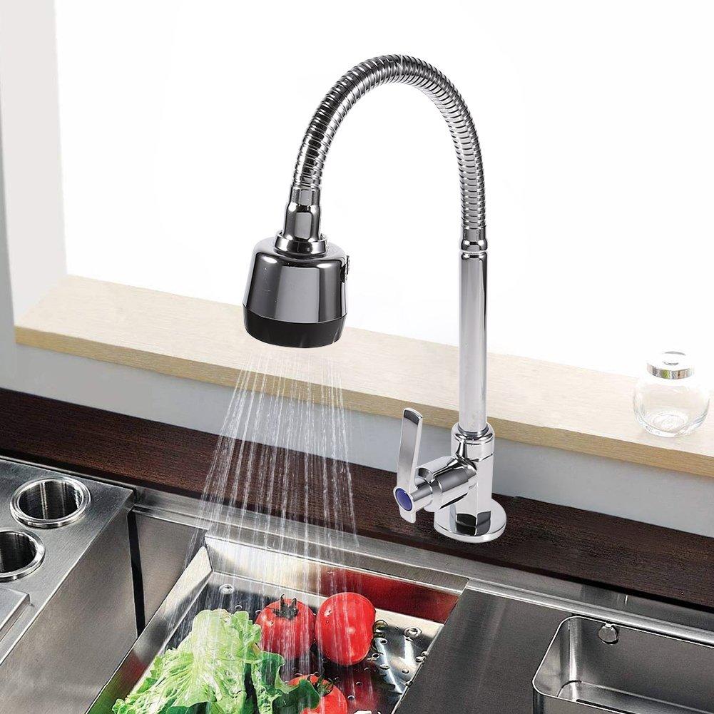 Rotatif Robinet Cuisine en alliage de zinc bec simple 360/degr/és ratate Poign/ée /Évier Pull Down Pulv/érisateur Robinet de leau froide