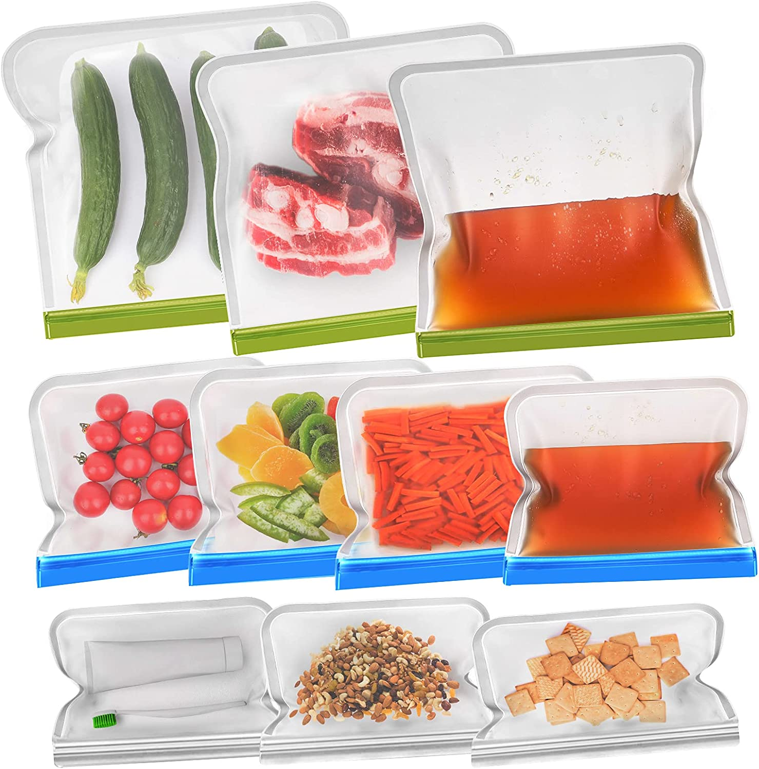 Reusable Food Storage Bags - 10 Pack EXTRA THICK BPA FREE Reusable Freezer Bags - 3 Reusable Gallon Freezer Bags + 4 Leak Proof Reusable Sandwich Bags + 3 Food Grade Kids Snack Bags