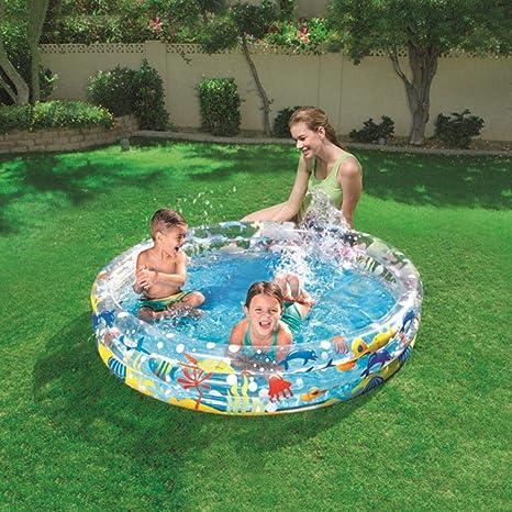 globalqi - Piscina Hinchable para niños, Ocean World, diversión de Verano, Piscina, Fiesta, Goma Dura, Redonda, 47,24 11,02 Pulgadas: Amazon.es: Deportes y aire libre