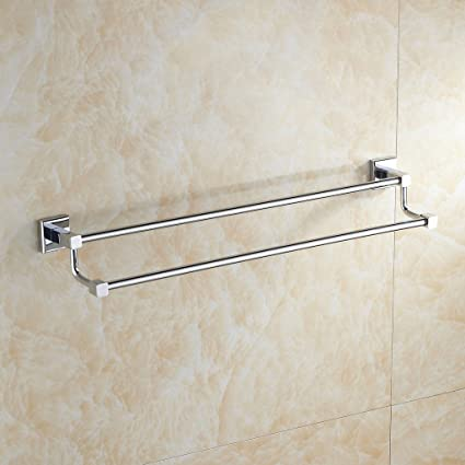 Leyden Contemporary Bathroom Accessories Solid Brass Double Towel Bar  Chrome Finish Lavatory Home Decor Bath Shower