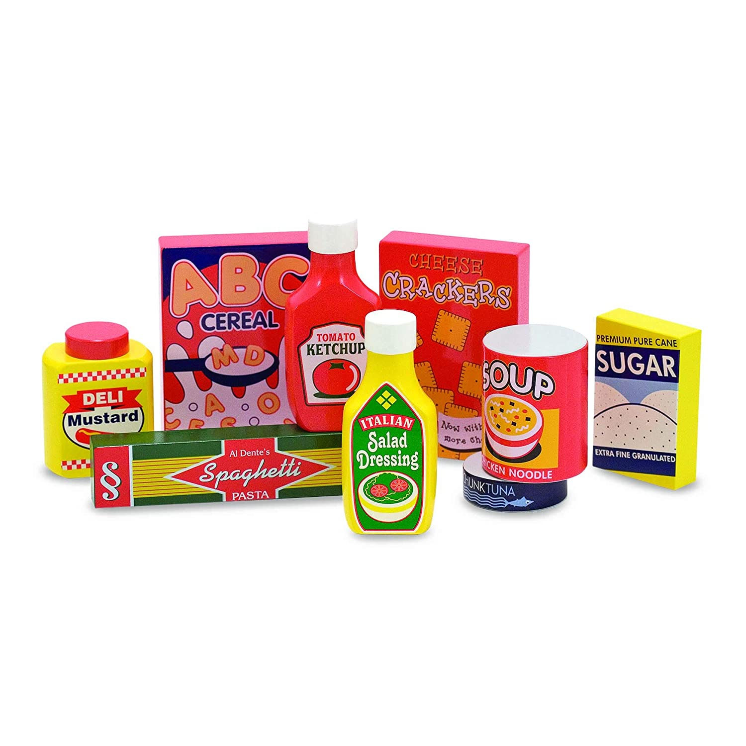 """Melissa & Doug Pantry Food Set, Wooden Play Food, Pretend Play, Hand-Painted Wood, Sturdy Construction, 9 Pieces, 13.1"""" H x 10.65"""" W x 2.45"""" L"""