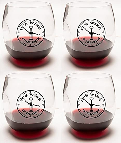 c10848567e1 It's Wine O'Clock Unbreakable Stemless Wine Glasses 4-Pack Ideal Wine  Accessories & Gift