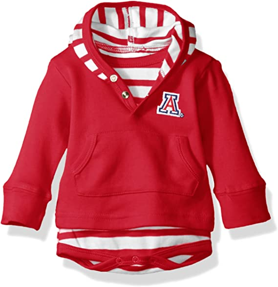 Two Feet Ahead LSU Tigers Newborn Infant Striped Hooded Creeper Sweatshirt Jacket