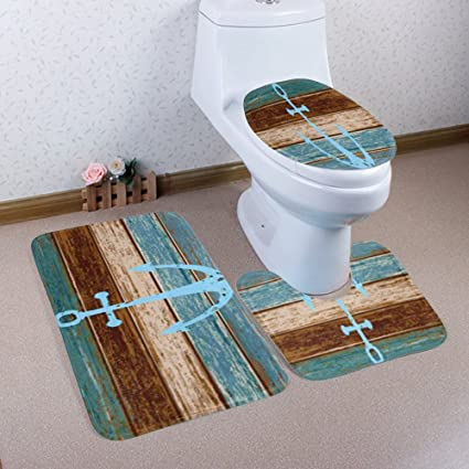 WCHUANG Anchor Bathroom Rug Decorative Bath Rugs   Non Slip Non Slip Bath  Mat, Set