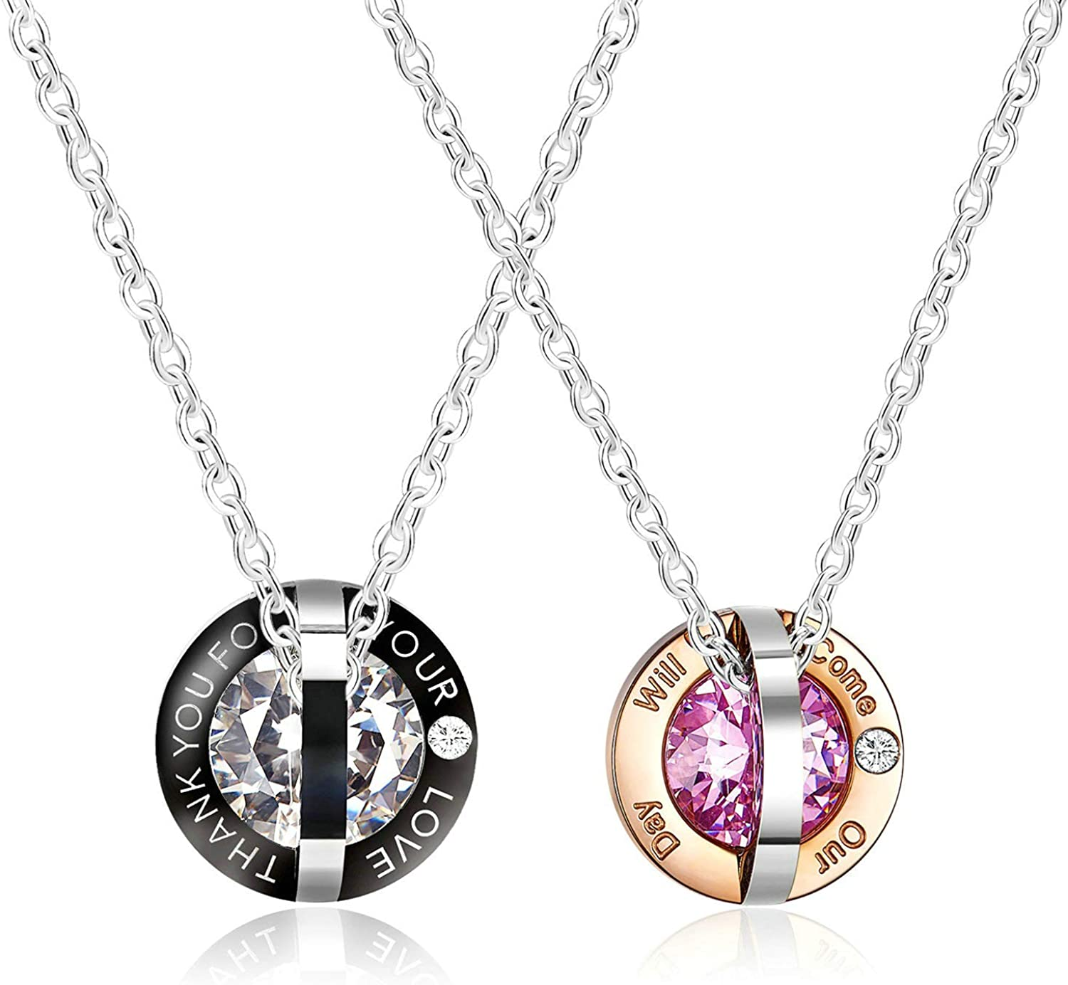 MoAndy Necklace for Couple Titanium Steel Pendant Necklaces Star Circle Engraved with Cubic Zirconia