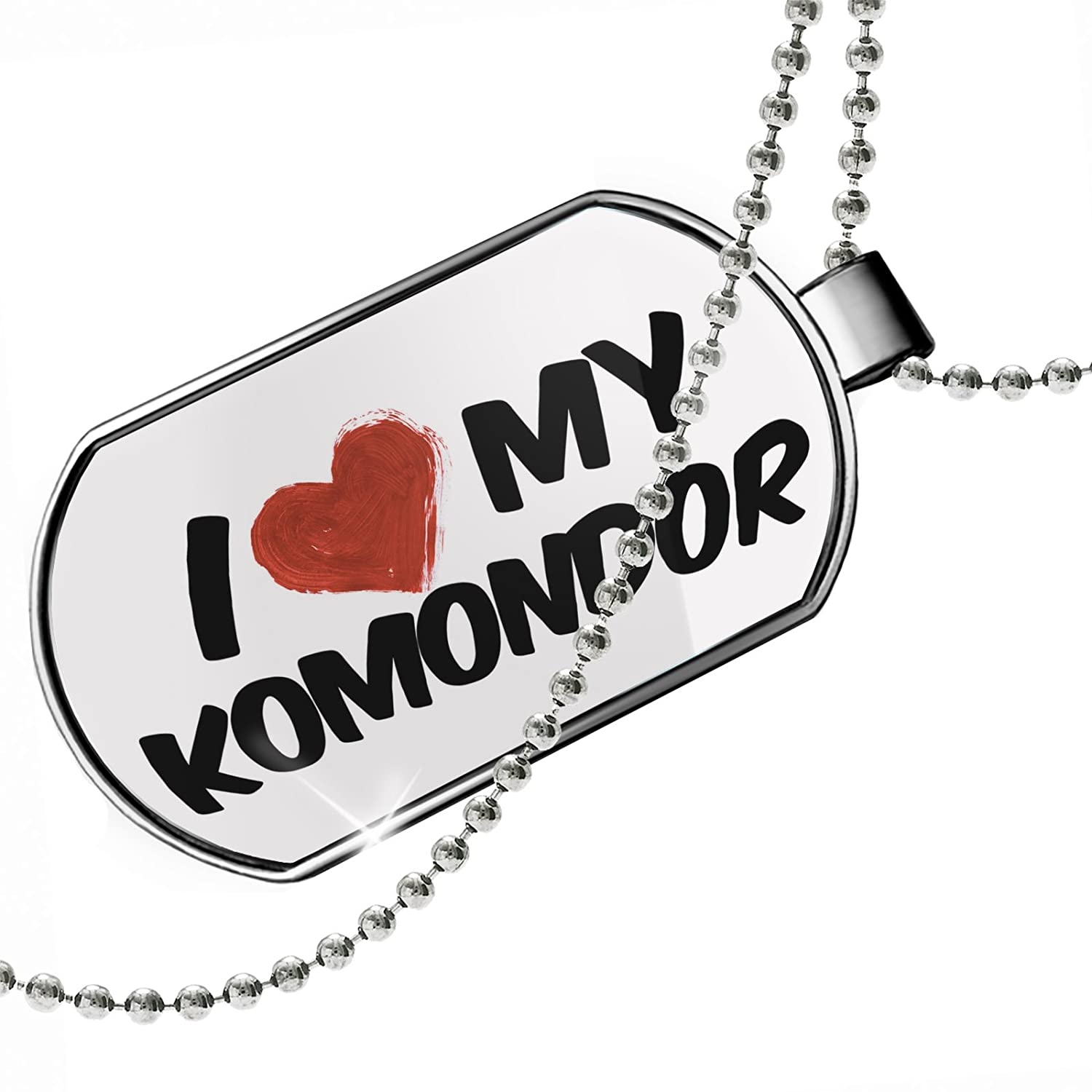 NEONBLOND Personalized Name Engraved I Love My Komondor Dog from Hungary Dogtag Necklace