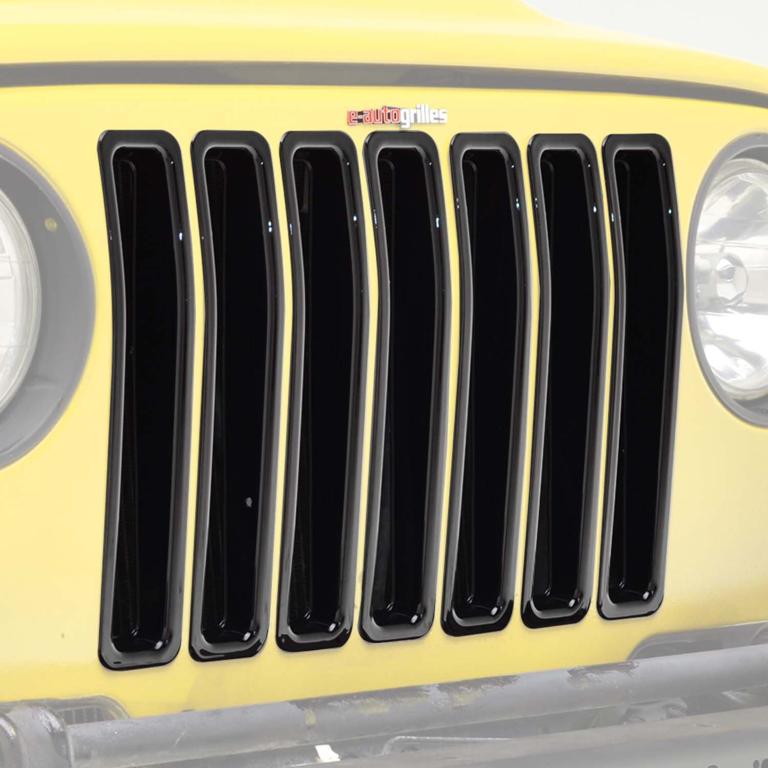 EAG 97-06 Jeep Wranngler TJ Grille Insert Black ABS Trim Front Grill Open 7PCS (41-0139)