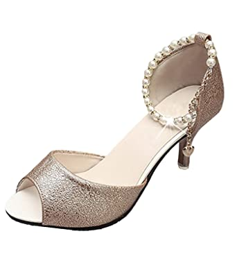 75757a4fb11 Minetom Women Elegant Fish Mouth Thin High Heels Sandals Rhinestones Pearl  Beads Ankle Strap Mid Heels Shoes Stilettos Gold UK 6.5  Amazon.co.uk   Clothing