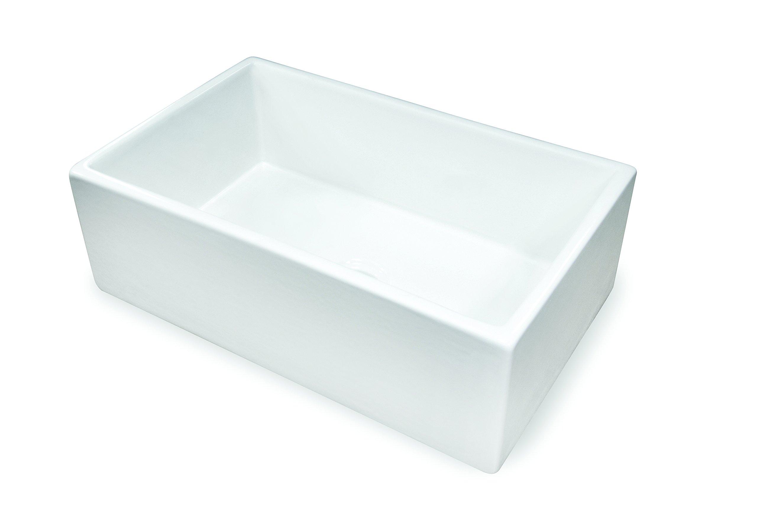 TRUE FIRECLAY Treillage Sink by MOCCOA, Reversible Apron Front Sink 30 Farmhouse Sink White