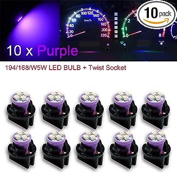 "10x 1//2/"" Sockets Instrument Gauge Cluster Dash Light 10x Red T10 194 LED Bulbs"