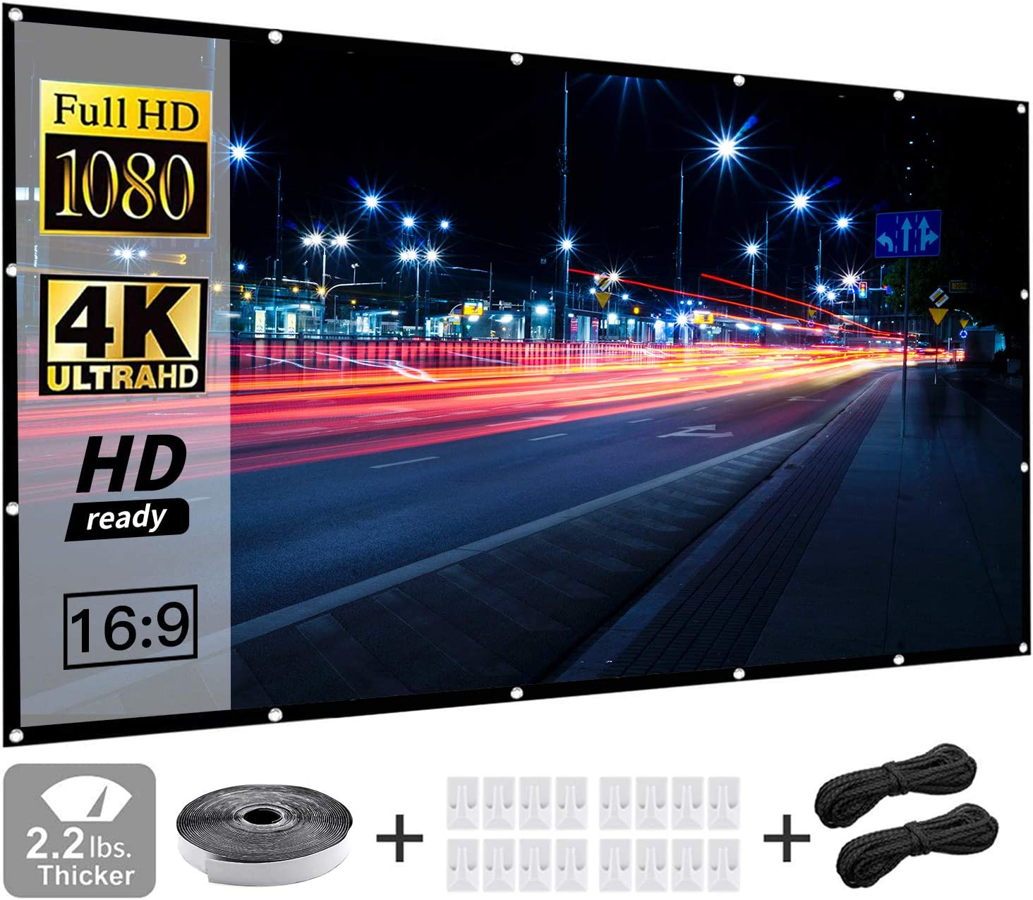 120 Inch Video Projector Screen,LaBold 16:9 HD Foldable Anti-Crease Portable Projector Movies Screen for Home Theater Outdoor Indoor