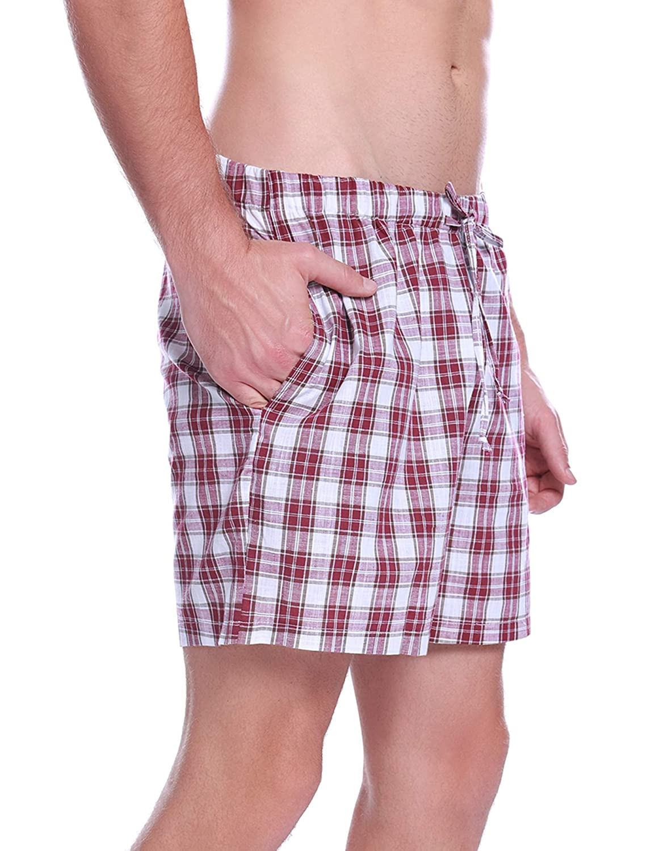 Hawiton Pantalon Pijama Corto Hombre Verano de 100/% Algodon Pantalones Cortos El/ástico Pantalones de Dormir a Cuadros de Sal/ón