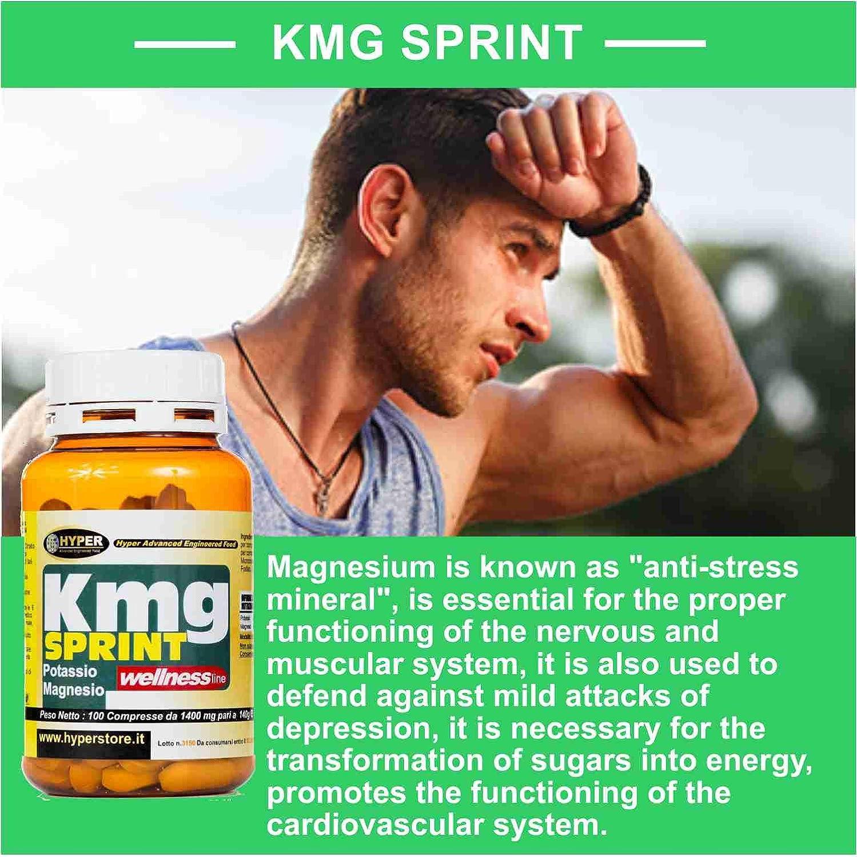 Suplemento de potasio y magnesio | 1 paquete x 100 tabletas | Energía contra la fatiga El suplemento combate la fatiga | Recuperación lista | KMG SPRINT: ...
