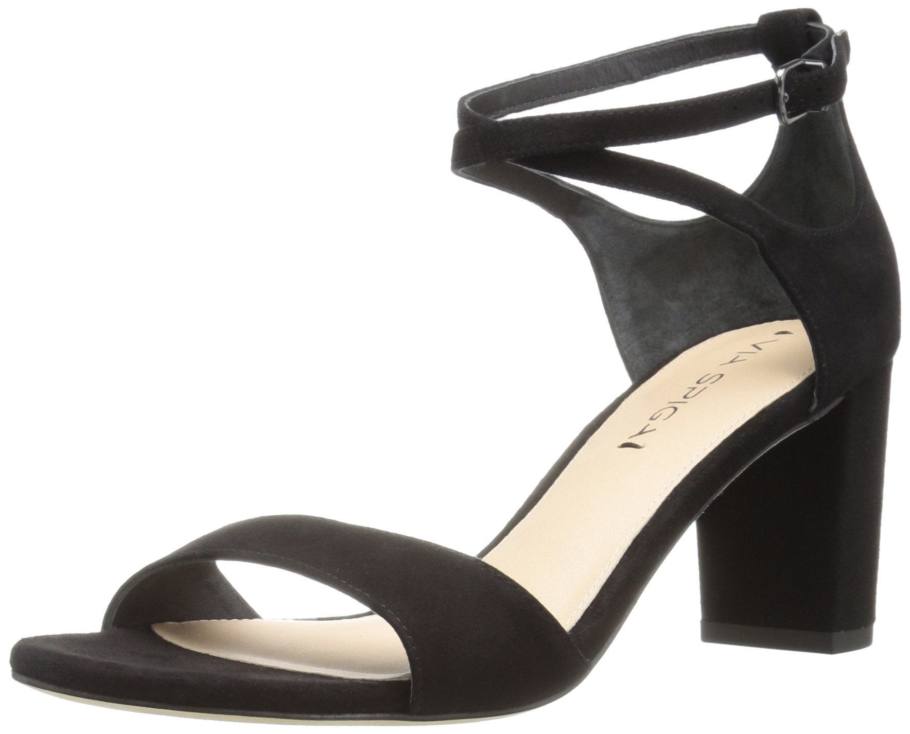 Via Spiga Women's Wendi Block Heel Dress Sandal, Black Suede, 6.5 M US