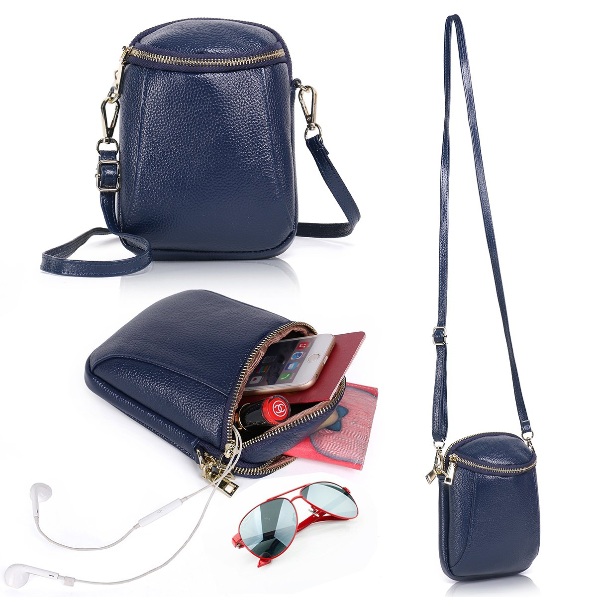 Zg Girls Women 100% Real Leather Small Cute Crossbody Cell Phone Purse Wallet Bag with Shoulder Strap Fits for IPhone 6 6S 7 Plus and Samsung Galaxy S7 Edge S8 Edge - Navy Blue