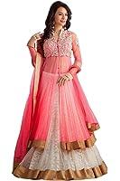 Sky Global Women's Embroidered Georgette Pink Lehenga Choli (Lehnga_145_Free Size_Pink)