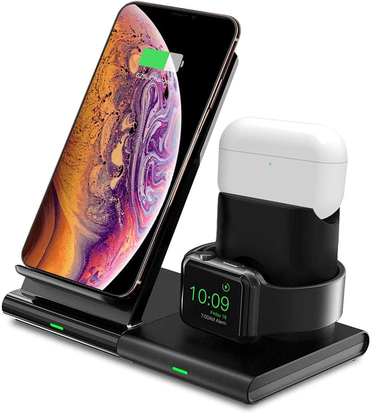 Hoidokly Cargador Inalámbrico, 3 en 1 Soporte de Carga para iPhone y Apple Watch, Base de Carga Rápida para iWatch 2/3/4/5, AirPods Pro, iPhone SE/11/11 Pro MAX/XS MAX/X(No Cable de Carga del iWatch)