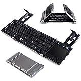 Faltbare Bluetooth Tastatur, EC Technology Portable Faltbare Wireless Keyboard mit Multi Touchpad, Halter, Touch Keyboard für Android Windows iOS - Silber