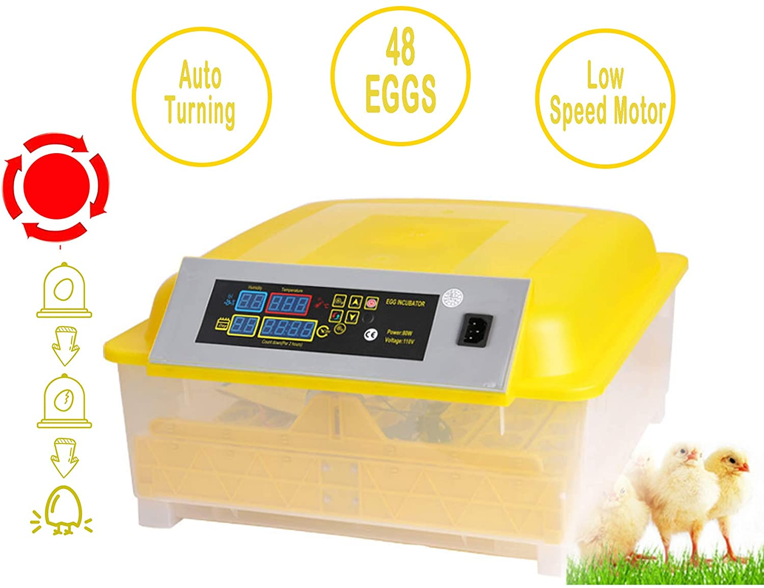 Moroly 48 Eggs Incubator Automatic Digital Hatching for Chicken Duck Goose Egg Hatcher US Stock 48 Egg