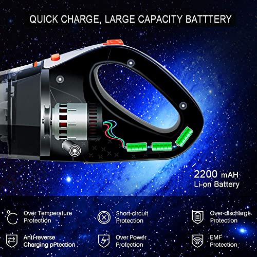 Hikeren Handheld Vacuum, Hand Vacuum Cordless 7Kpa Strong Suction Powered by Li-ion Battery Rechargeable Quick Charge Tech, Mini Vacuum for Home and Car Cleaning, Black Orange