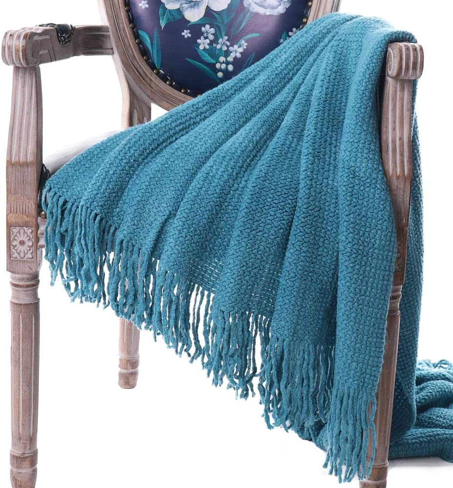 """Battilo Knit Tassel Throw Blanket for Couch Sofa Bed Home D/écor Soft Warm Light Weight Blanket 51/"""" x 59/"""" Blue"""