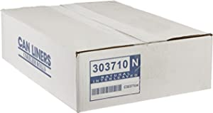 """Spectrum CP303710N HDPE Institutional Trash Can Liner, 20-30 Gallon Capacity, 37"""" Length x 30"""" Width x 10 Micron Thick, Natural (Case of 500)"""