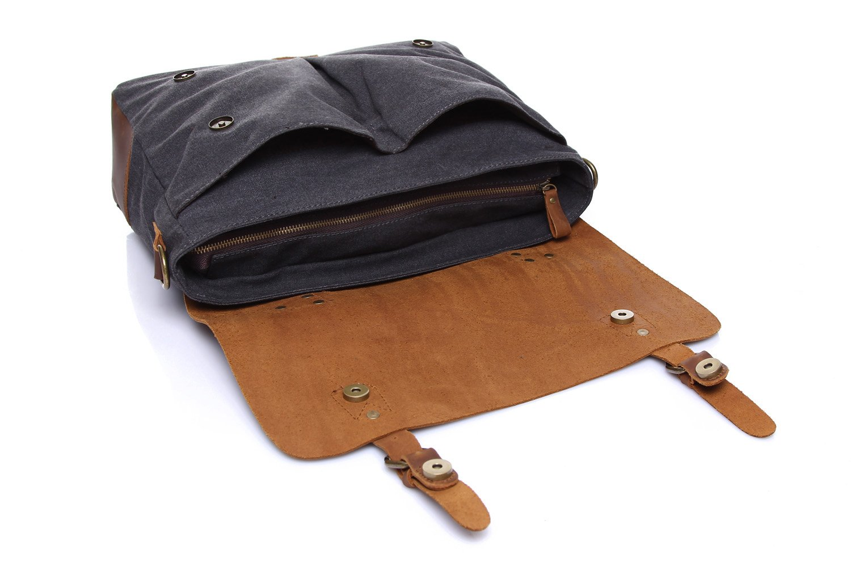 Color : Blue, Size : M Mens Messenger Bag Official Document Canvas Bag Computer Shoulder Bag Retro with Crazy Horse Skin