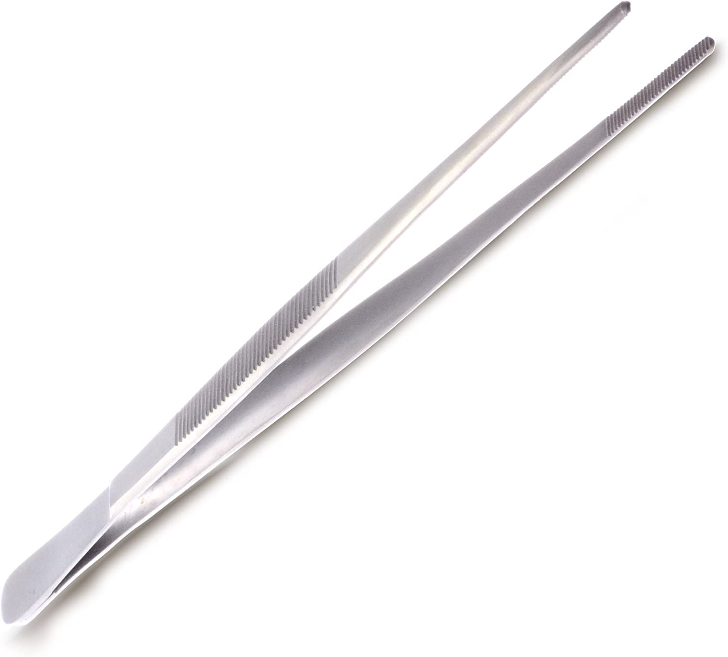 Specialty Stainless Steel Kitchen Seafood & Surgical Tweezer Food Tongs Tool - 8 Inch - Precision Serrated Tips