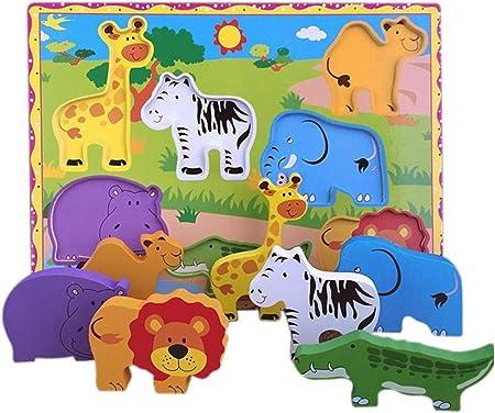Rompecabezas con piezas de madera grandes, temática safari,7 piezas de rompecabezas extra-gruesas,La