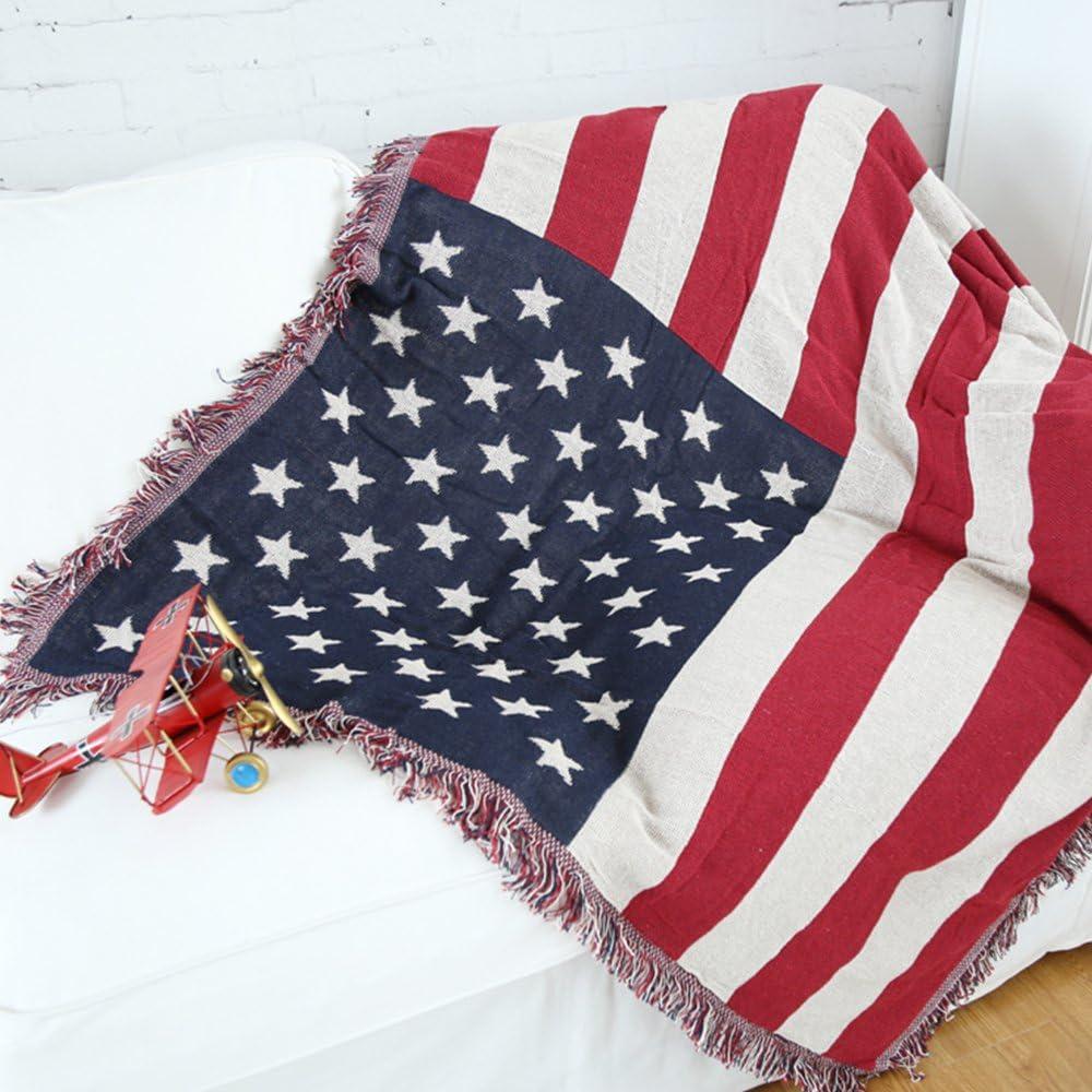 Yazi la bandera americana manta sofá brazo silla colcha manta o sofás algodón línea doble 130 x 180 cm: Amazon.es: Hogar