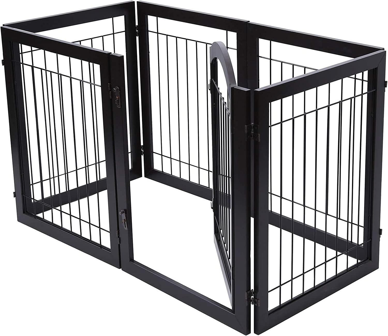 PAWLAND 144-inch Extra Wide 30-inches Tall Dog gate with Door Walk Through, Freestanding Wire Pet Gate for The House, Doorway, Stairs, Pet Puppy Safety Fence, Support Feet Included, Espresso,6 Panels: Baby