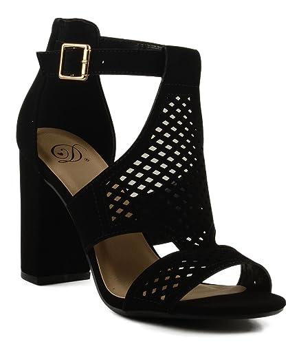 7a04d9d59cd4 Delicious Women s Inflow Cut Out Design Front Block Heel