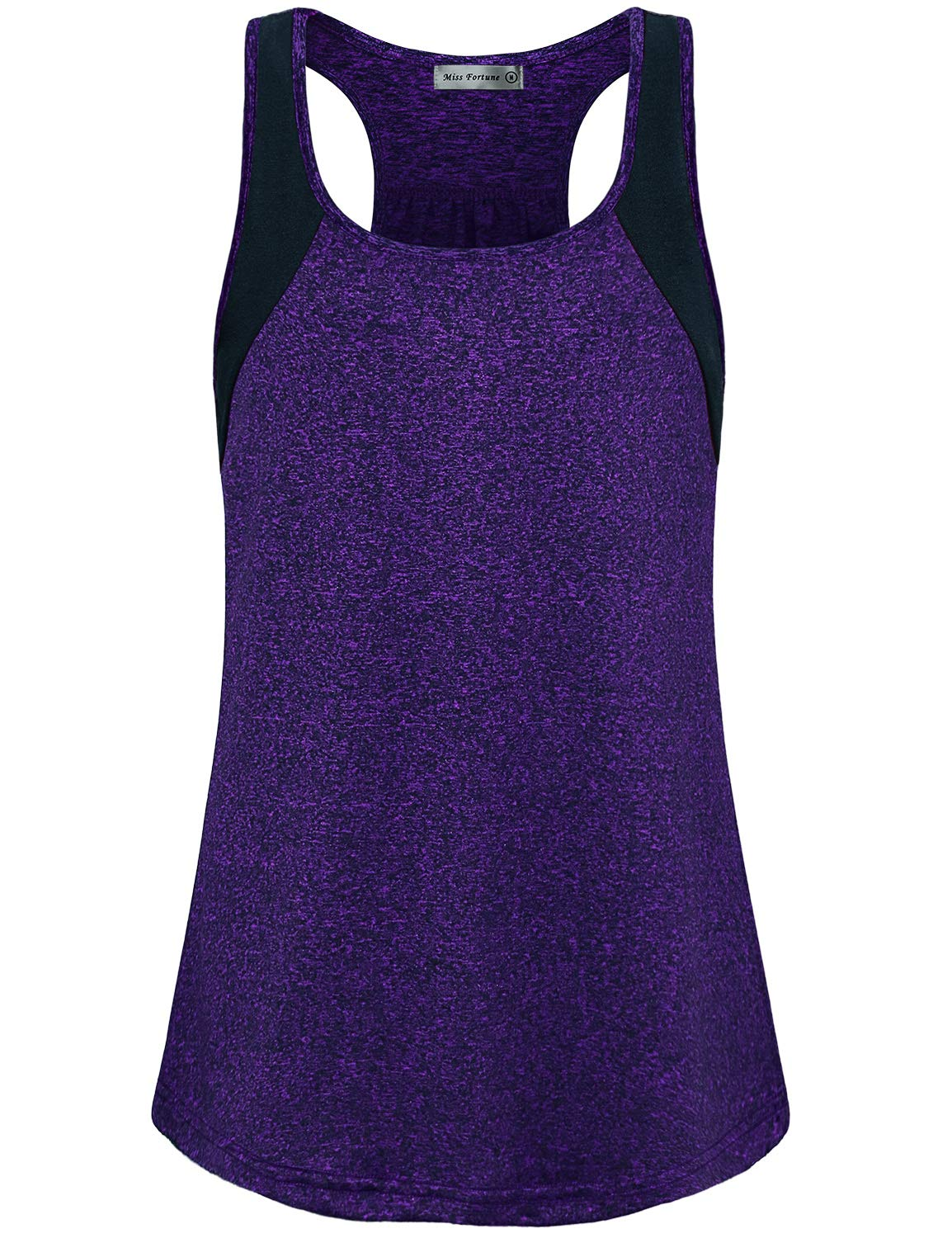 MISS FORTUNE Scoop Neck Exercise Top,Dri Fit Tank for Women Grey Basic Casual Active Workout Tops Fitting Sleeveless Athletic Shirts Gym Tee Tops Purple L by MISS FORTUNE