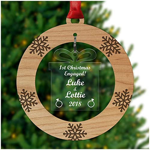 personalised 1st christmas as an engaged couple xmas tree bauble decoration ornament cherry veneer and