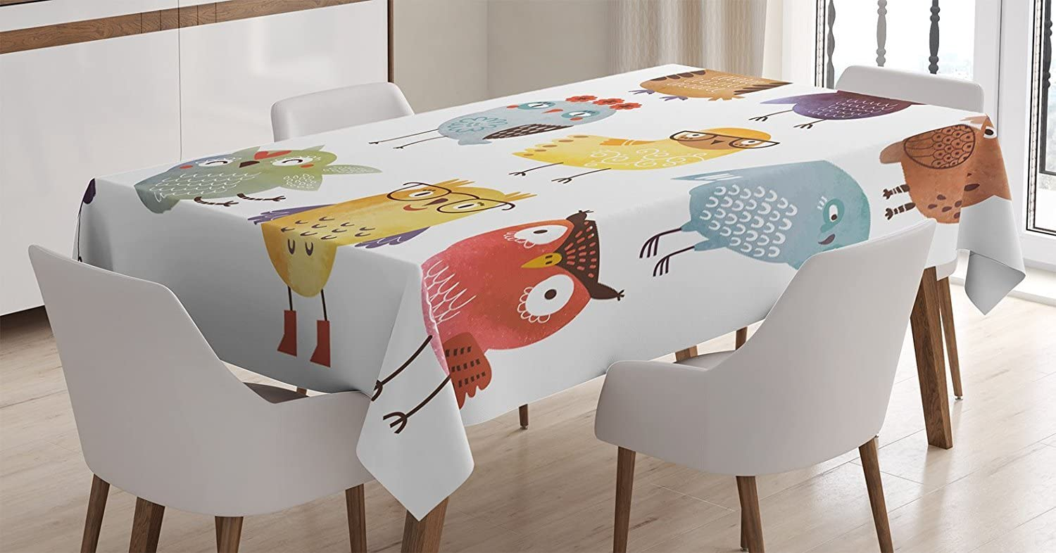 """Ambesonne Funny Tablecloth, Retro Hipster Bohemian Owls Birds Pattern Modern Fashion Floral Fun Costumes Boho, Rectangular Table Cover for Dining Room Kitchen Decor, 60"""" X 90"""", Umber Yellow"""