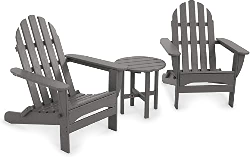 POLYWOOD PWS214-1-SG Classic Adirondack Chair Seating Set, Slate Grey