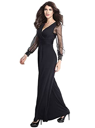 62c0415b66ba Image Unavailable. Image not available for. Color  Tankoo Women s Embellished  Cuffs Long Mesh Sleeves Plunge V Neck Jumpsuit Black 3XL