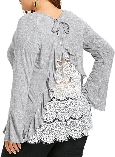 Las Mujeres de Gran tamaño Espalda Camisa de Encaje de Manga Larga Camisa Casual Tops Blusa Mujer Manga Corta Casual Camiseta Mezcla de algodón Cuello en V Chaleco Tops Blusa (XXXXL): Amazon.es: