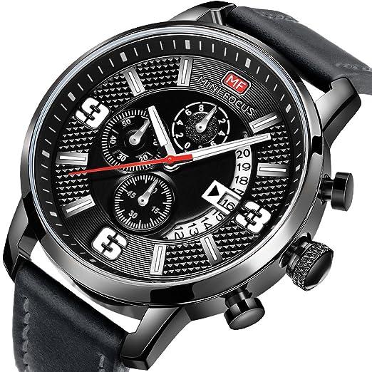 Relojes Hombres Deportes Reloj Cronógrafo Fecha Cuero Correa Cuarzo Impermeable Reloj de Pulsera para Regalo: Amazon.es: Relojes