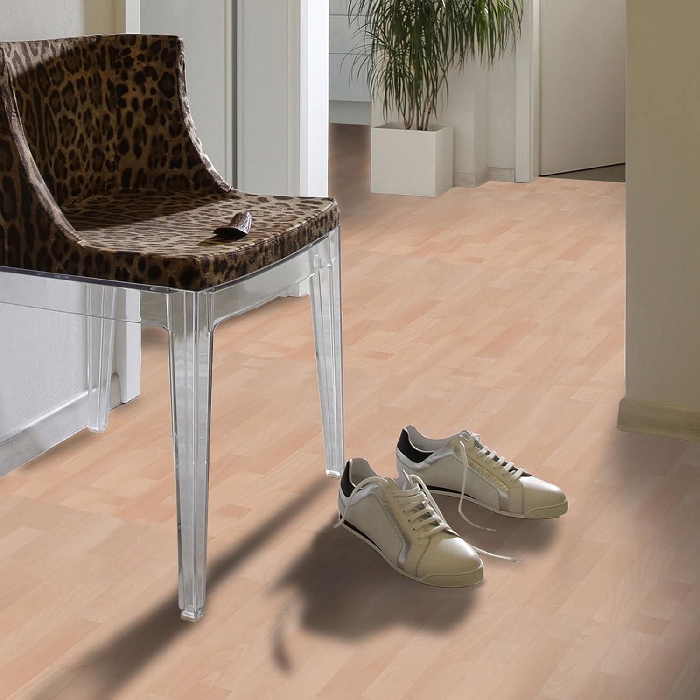 200x300 cm Oberfl/äche strukturiert - Buche hell extra abriebfester PVC Bodenbelag gesch/äumt casa pura/® CV Bodenbelag Beech Plank Meterware edle Holzoptik