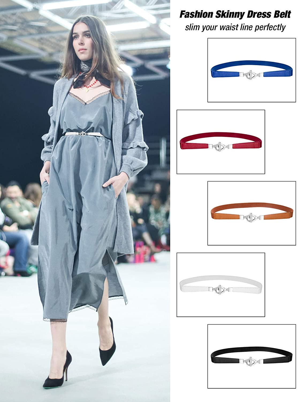 3baa46bca12 Jovitec 5 Pieces Women Skinny Elastic Waist Belt Retro Stretch Cinch Thin  Belt Metal Buckle (Style A) at Amazon Women s Clothing store