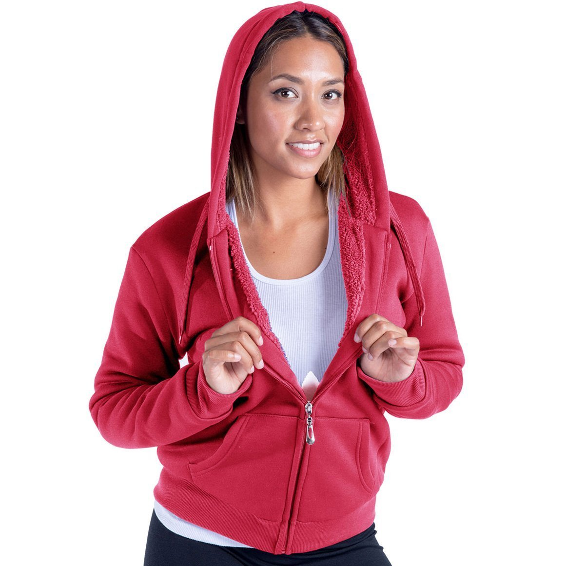 Leehanton Women's Plus Size Full Zip Soft Sherpa-Lined Fleece Hoodie Coral 3XL