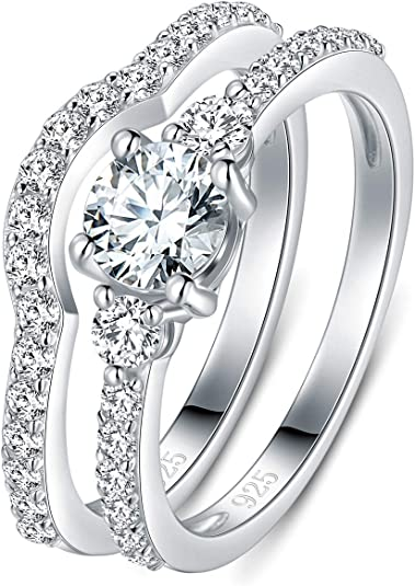 Sterling Silver 925 Cubic Zirconia flower stacking band ring