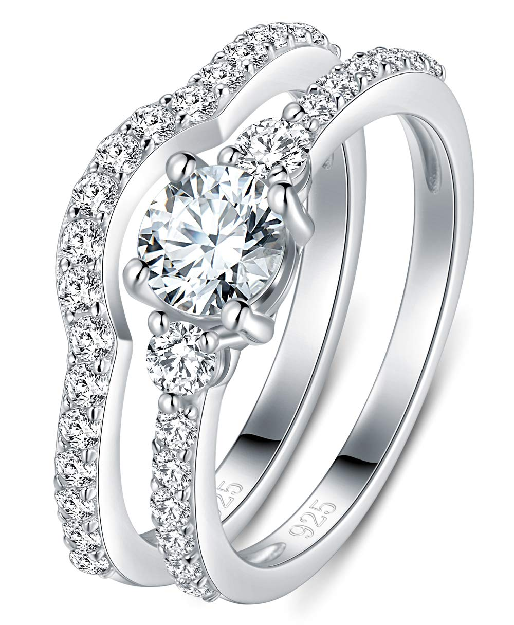 BORUO 925 Sterling Silver Ring Cubic Zirconia CZ 2pc Wedding Band Stackable Ring Set 4mm Size 4-12