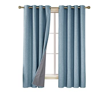 Deconovo Total Blackout Curtains 72 Inch Long Thermal Insulated Grommet Teal Curtains for Living Room Teal 52W x 72L Inch Set of 2