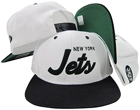 cd6f375042c Image Unavailable. Image not available for. Color  New York Jets White Green  Script Two Tone Adjustable Snapback ...